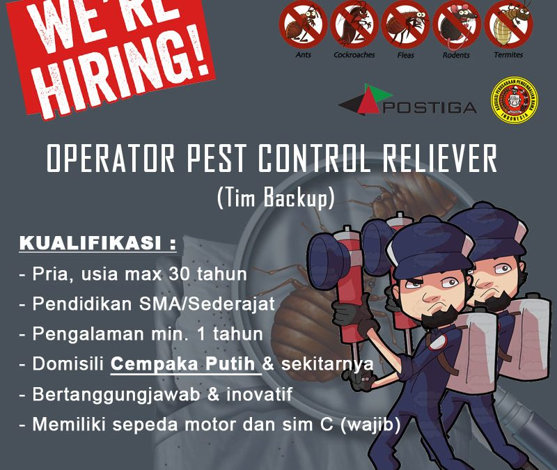 Lowongan Operator Pest Control RELIEVER (Tim Backup)
