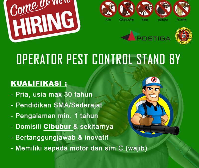 Lowongan Operator Pest Control Stand by Area Cibubur