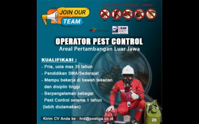 Lowongan Operator Pest Control (Areal Pertambangan Luar Jawa)